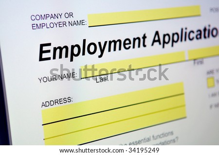 Employment Application on computer screen - stock photo