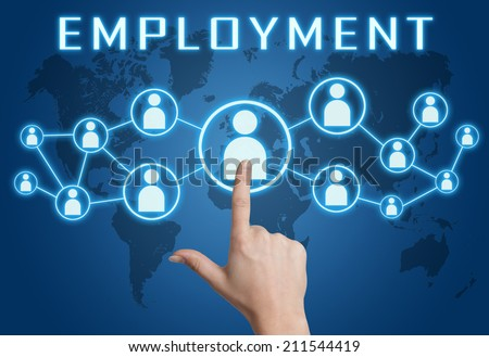 Employment concept with hand pressing social icons on blue world map background. - stock photo