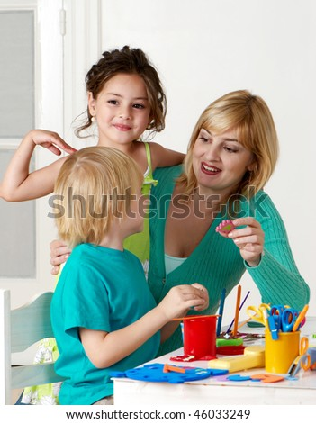 Employment in a kindergarten - stock photo