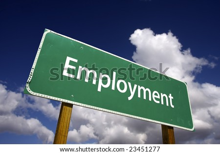 Employment Road Sign with Dramatic Clouds and Sky. - stock photo