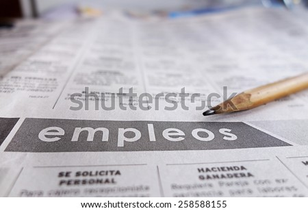 Employment section of a Spanish language newspaper                                - stock photo