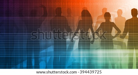 Employment Services with Silhouette of Business Team - stock photo