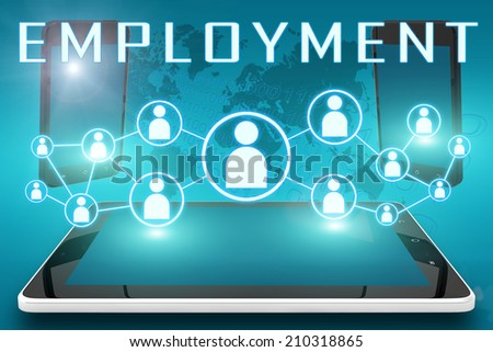 Employment - text illustration with social icons and tablet computer and mobile cellphones on cyan digital world map background - stock photo