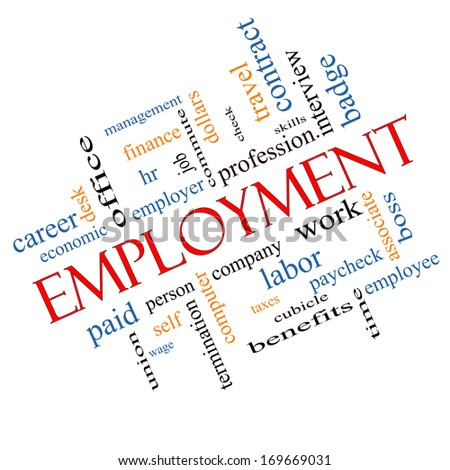 Employment Word Cloud Concept Angled with great terms such as work, company, boss, job and more. - stock photo