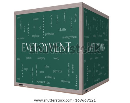 Employment Word Cloud Concept on a 3D Cube Blackboard with great terms such as work, company, boss, job and more. - stock photo