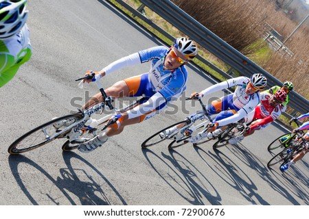 EMPOLI, FIRENZE - MARCH 10: Cyclists during the 2nd stage of 2011 Tirreno-Adriatico on March 10, 2011 in Empoli, Firenze, Italy