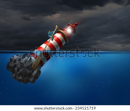 Empower concept as a person using a lighthouse beacon as if it was a oar guiding the business symbol with an oar as a success metaphor for taking control of your career direction or life path. - stock photo