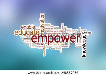 Empower concept word cloud background on blue blurred background - stock photo