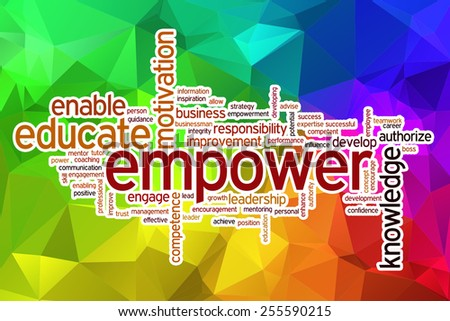 Empower word cloud concept with abstract background - stock photo