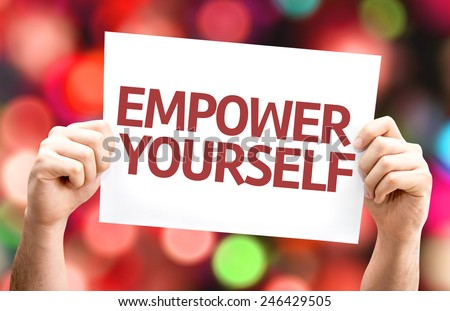 Empower Yourself card with colorful background with defocused lights - stock photo