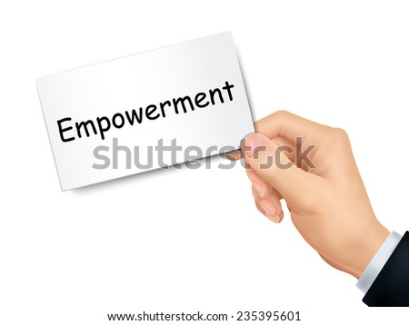 empowerment card in hand isolated over white background - stock photo