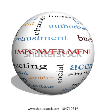Empowerment 3D sphere Word Cloud Concept with great terms such as granting, business, duties and more. - stock photo