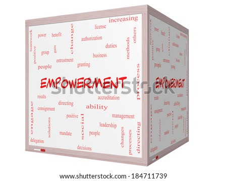Empowerment Word Cloud Concept on a 3D cube Whiteboard with great terms such as granting, business, duties and more. - stock photo