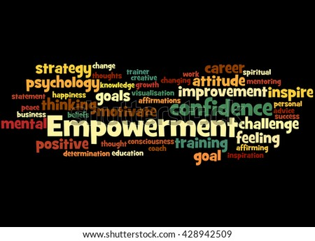 Empowerment, word cloud concept on balck background. - stock photo