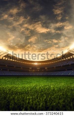 emptry stadium evening  - stock photo