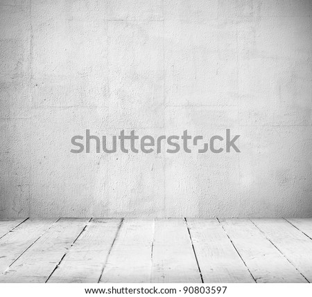 Empty a white Interior of vintage room without ceiling from gray grunge stone wall and old wood floor. Pattern gallery to the exhibition as perfect background for your concept or project. Realistic 3d