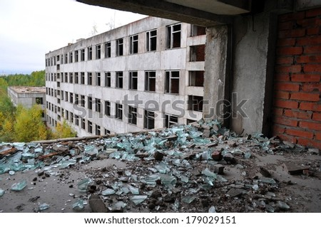 Empty abandoned by people home. - stock photo