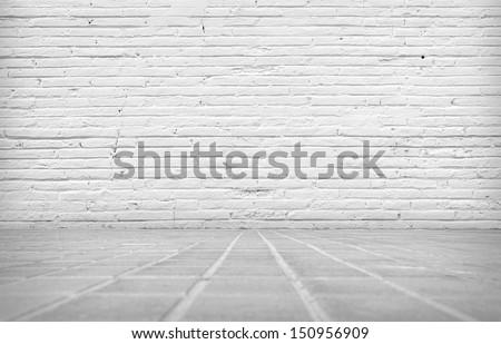 Empty abandoned Interior, vintage background of brick wall - stock photo