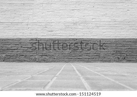 Empty abandoned Interior, vintage background of brick wall