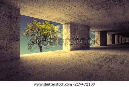 Empty abstract concrete interior with sky and small green tree outside, retro toned effect - stock photo