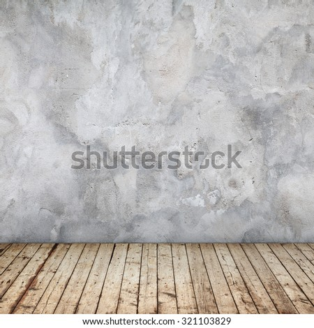 Empty abstract interior background with concrete wall and wooden floor
