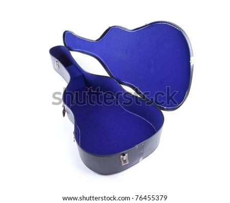empty acoustic guitar hard case with blue inner lining isolated on white.