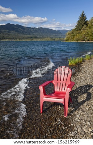 Empty adirondack chair on the shore of Lake Quinault, Olympic National Park - stock photo
