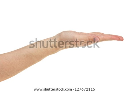 empty adult man hand,  isolated on white - stock photo