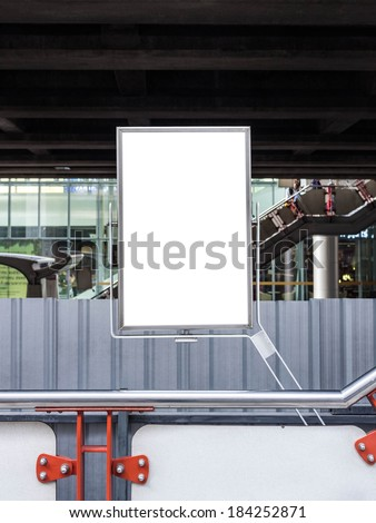 empty advertisement poster in construction site - stock photo