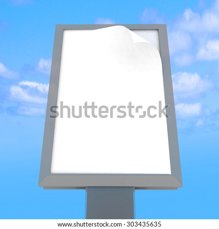Empty advertising billboard at sky background. 3D render illustration - stock photo