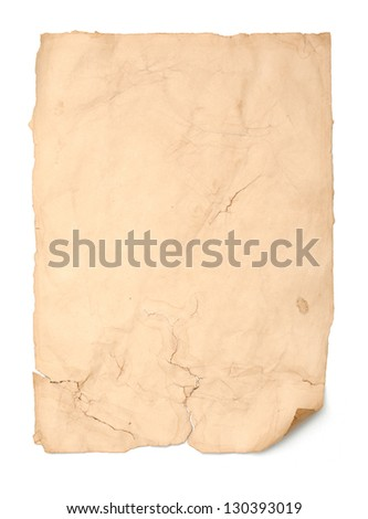 Empty aged piece of paper, isolated on white background.