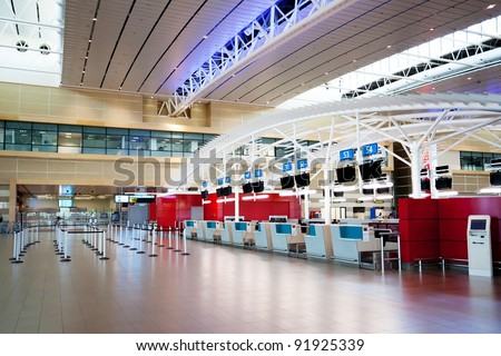 empty airport check in counter - stock photo
