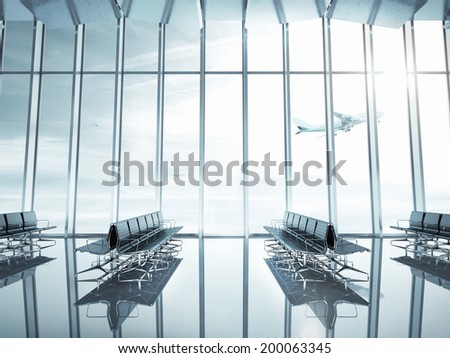 Empty airport interior - stock photo