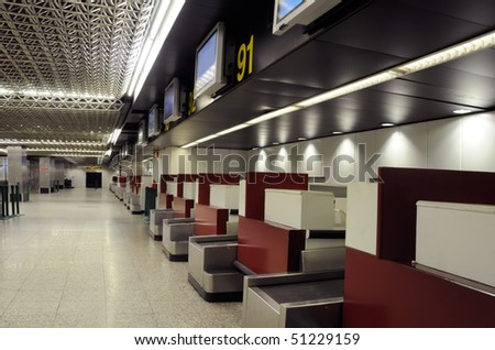 Empty airport - interior and sign - stock photo