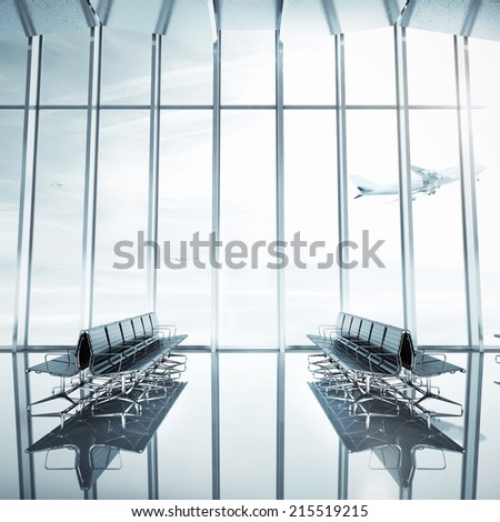 Empty airport interior. Contemporary bright interior of an airport