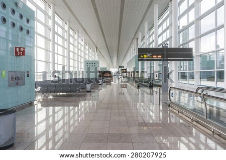 Empty airport lounge - stock photo