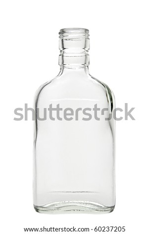 Empty alcohol bottle. Isolated on white background, with clipping path. - stock photo