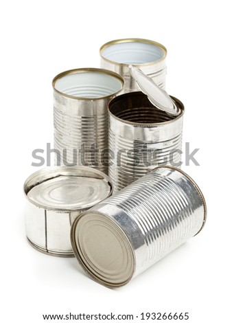 Empty aluminum cans collected for recycling over white background - stock photo