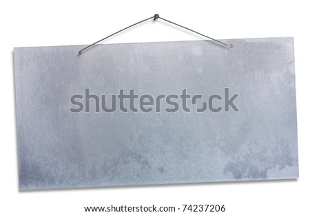 empty aluminum sheet hanging with wire and nail, blank signboard isolated on white, empty grunge banner, clipping path - stock photo