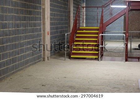 Empty and Bare Building Interior with Materials and Structure Exposed - stock photo
