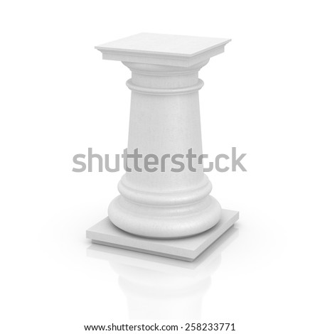 Empty and blank pedestal isolated on white, copy space image. - stock photo