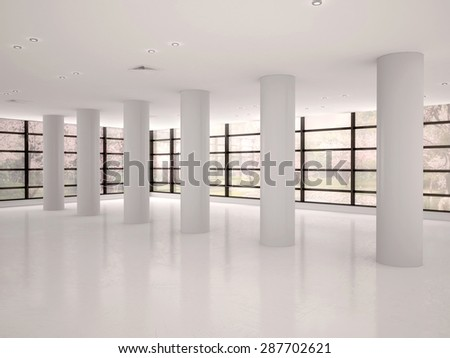 empty and bright corridor in modern office building