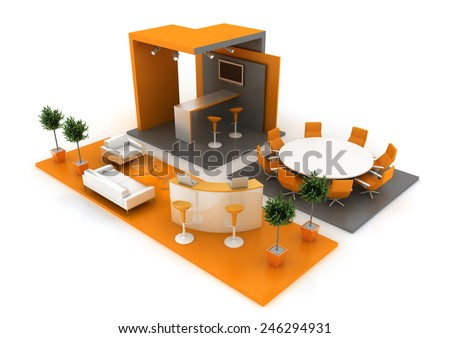 Empty and customizable exhibition booth, isolated on white. Original project; complete furniture set. - stock photo