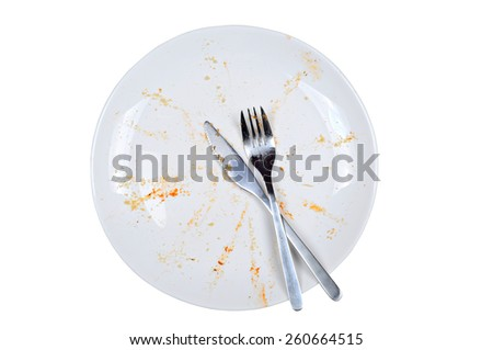 Empty and dirty plate, with leftovers, isolated on white background - stock photo