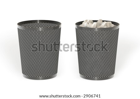 Empty and full trash isolated over a white background. This is a 3D rendered picture.