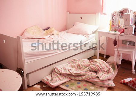 Empty And Untidy Child's Bedroom - stock photo