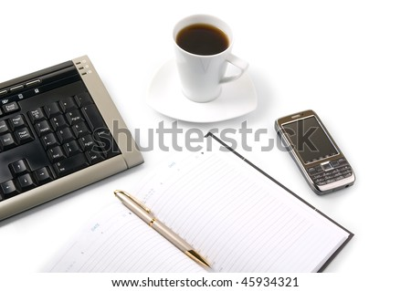 Empty appointment book and modern mobile device. Business concept on a white background. - stock photo