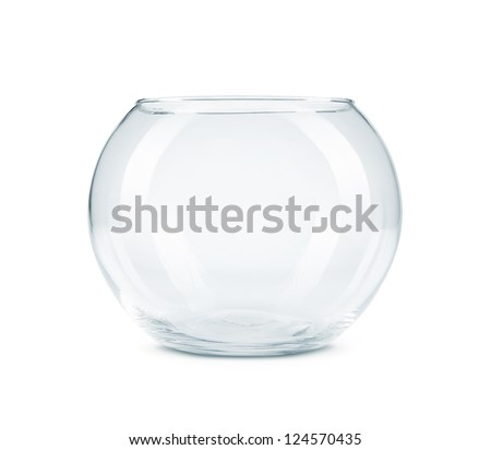 Empty aquarium, fish bowl isolated on white background with copy space - stock photo