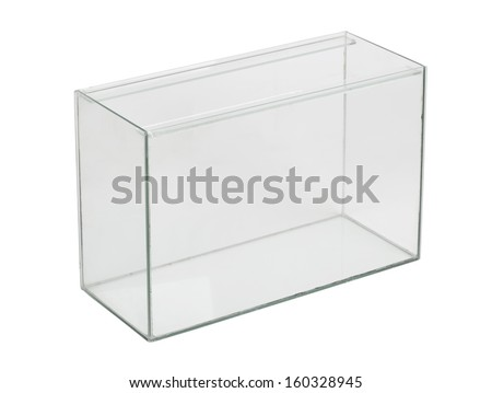Empty aquarium isolated on white - stock photo