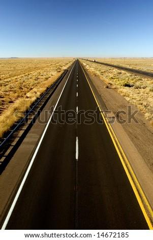 Empty Arizona I-40 highway across USA - stock photo